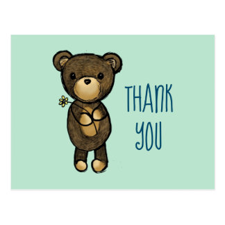 Cute Brown Bear with Yellow Flower Thank You Postcard