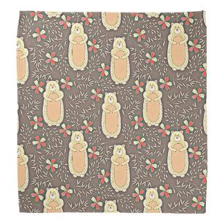Cute Brown Bears with Flowers Pattern Kerchiefs