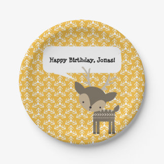 Cute Brown Buck Deer Personalized Party Plates 7 Inch Paper Plate