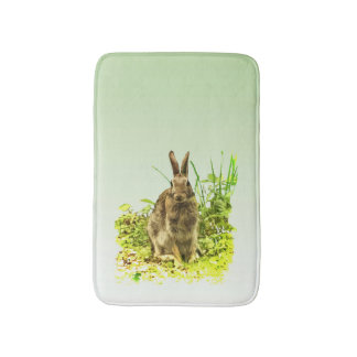 Cute Brown Bunny Rabbit Green Grass Bathmat