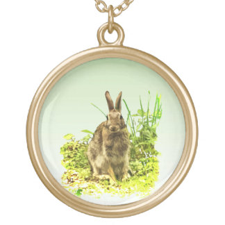 Cute Brown Bunny Rabbit in Green Grass Necklace