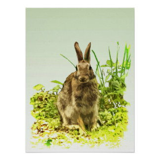 Cute Brown Bunny Rabbit in Green Grass Poster