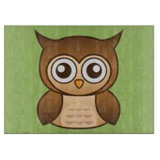 Cute Brown Cartoon Owl Cutting Board