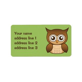 Cute Brown Cartoon Owl With Custom Address Info