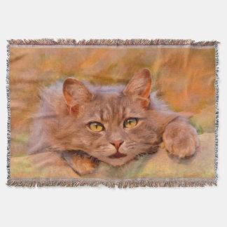 Cute Brown Cat Watercolor Oil Painting Art Throw Blanket