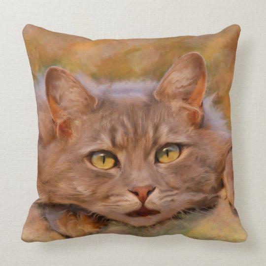 Cute Brown Cat Watercolor Oil Painting Art Throw Pillow