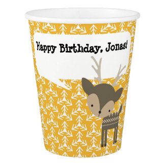 Cute Brown Deer Personalized Paper Party Cup Paper Cup