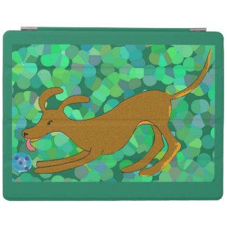 Cute brown dog fetching a ball iPad cover