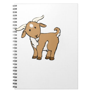 cute brown goat spiral notebooks