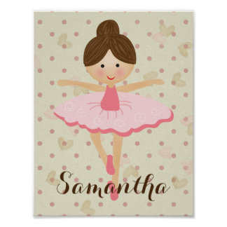 Cute Brown Hair Ballerina Poster