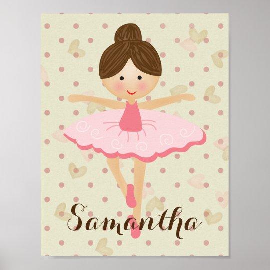 Cute Brown Hair Ballerina Poster