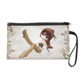 Cute Brown Hair Girl Wristlet