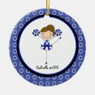 Cute Brown Haired Cheerleader Christmas Ornament