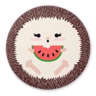 Cute Brown Hedgehog Eating Watermelon Slice Ceramic Knob