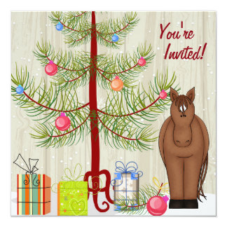 Cute Brown Horse and Christmas Tree Birthday Card