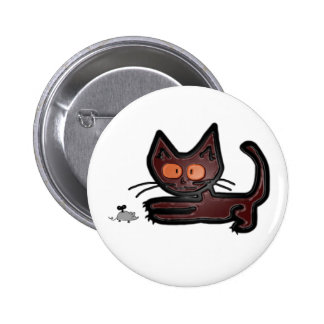 Cute Brown Kitty Cat Plays With Mouse Toy Pins