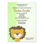 Cute Brown Lion 5x7 Baby Shower Invitation Green