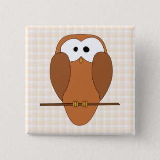 Cute Brown Owl, Beige Check Background. 2 Inch Square Button