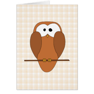 Cute Brown Owl, Beige Check Background. Card