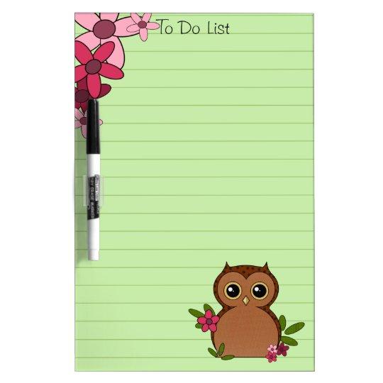 Cute Brown Owl Dry Erase Board