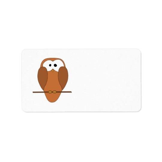 Cute Brown Owl Label