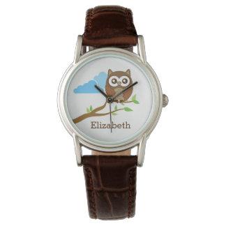 Cute Brown Owl on Branch Add Custom Name Watch