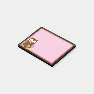 Cute Brown Owl with Pink Wings Post-it Notes