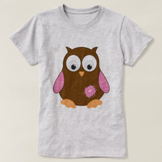 Cute Brown Owl with Pink Wings T-Shirt