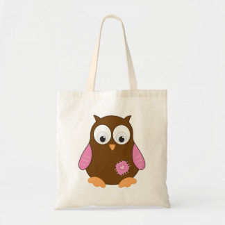Cute Brown Owl with Pink Wings Tote Bag