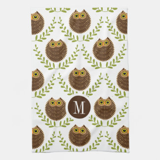 Cute Brown Owls With Green Wreath Pattern Kitchen Towels