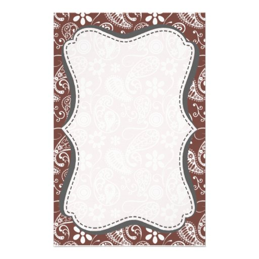 Cute Brown Paisley Pattern Custom Stationery