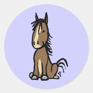 Cute Brown Pony Round Sticker