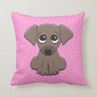 Cute brown puppy dog with big begging eyes pillow