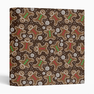 Cute Brown Red Green Christmas Gingerbreads 3 Ring Binder