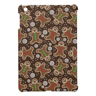 Cute Brown Red Green Christmas Gingerbreads Cover For The iPad Mini