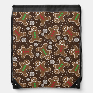Cute Brown Red Green Christmas Gingerbreads Drawstring Bag