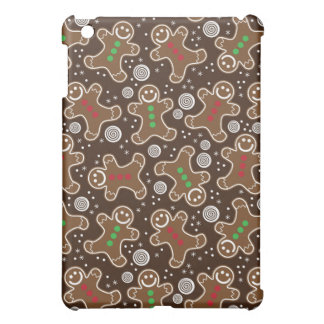 Cute Brown Red Green Christmas Gingerbreads iPad Mini Covers