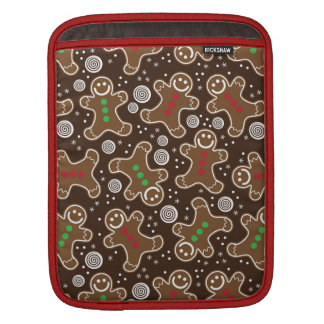 Cute Brown Red Green Christmas Gingerbreads iPad Sleeve