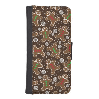 Cute Brown Red Green Christmas Gingerbreads iPhone SE/5/5s Wallet Case