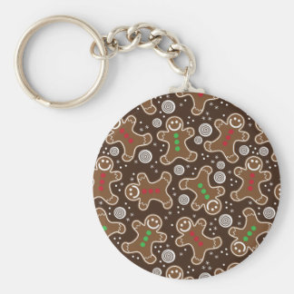 Cute Brown Red Green Christmas Gingerbreads Keychain