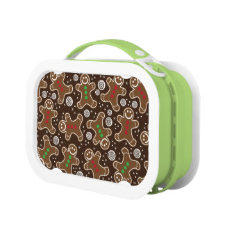 Cute Brown Red Green Christmas Gingerbreads Lunch Box