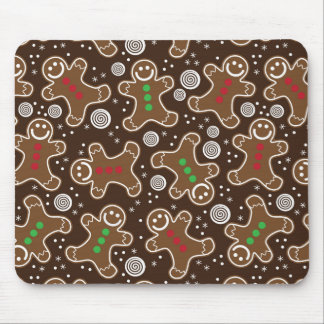 Cute Brown Red Green Christmas Gingerbreads Mouse Pad