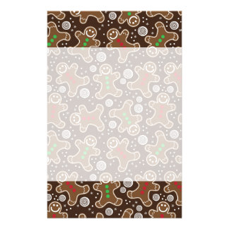 Cute Brown Red Green Christmas Gingerbreads Stationery