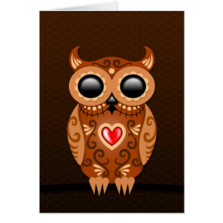 Cute Brown Sugar Owl Greeting Card