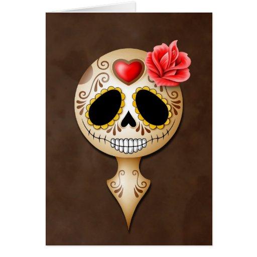 Cute Brown Sugar Skull Greeting Card