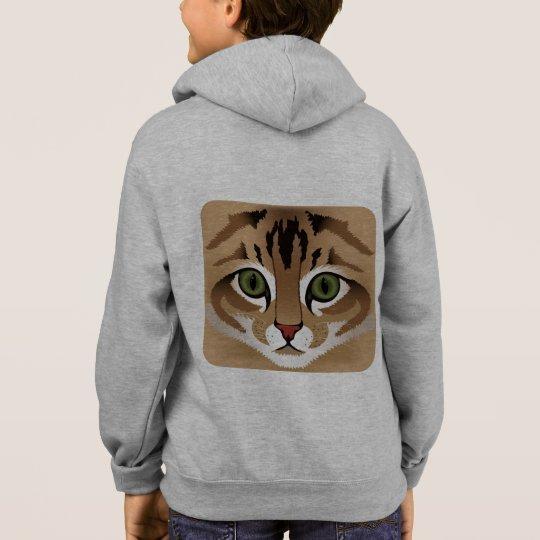 Cute brown tabby cat face name kid's hoodie