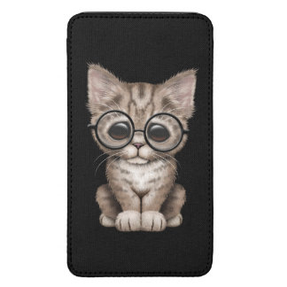 Cute Brown Tabby Kitten with Eye Glasses Black Galaxy S5 Pouch