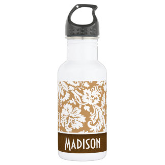 Cute Brown, Tan Damask 532 Ml Water Bottle