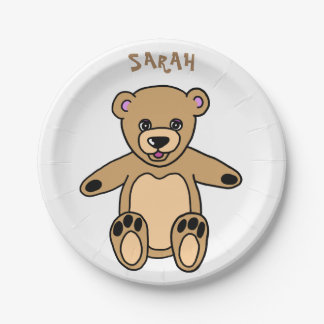Cute Brown Teddy Bear Birthday Name Paper Plate