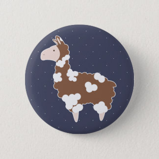 Cute Brown & White Cartoon Llama & White Dots 2 Inch Round Button